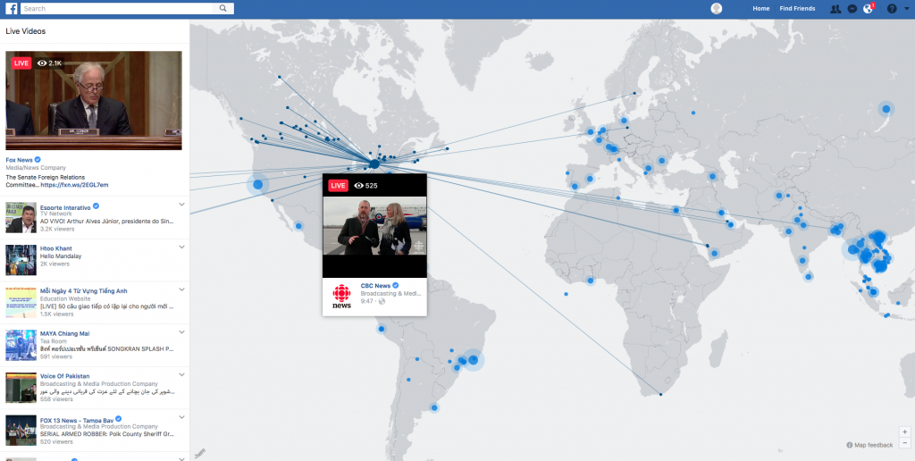 Facebook live video map