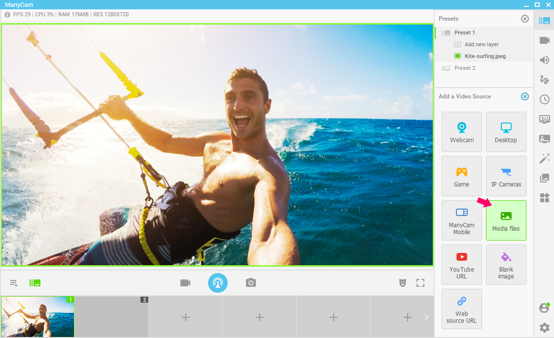 Add videos to your live stream - Presets