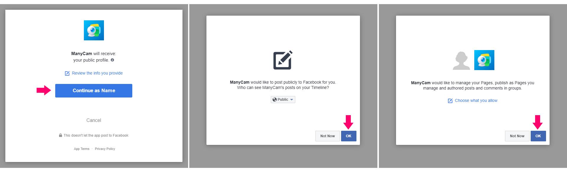 Authorize ManyCam - Facebook Live