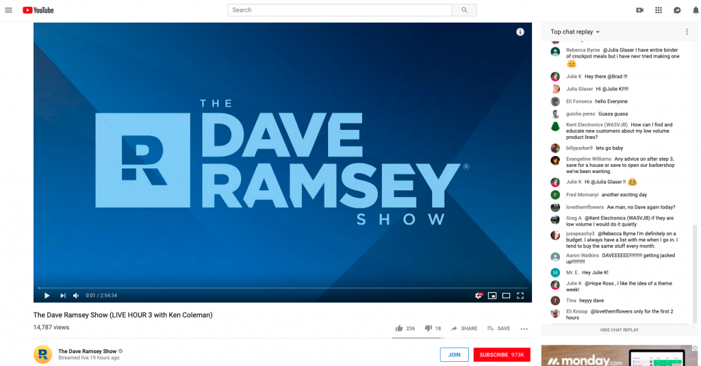 Dave Ramsey - Daily live show on social media