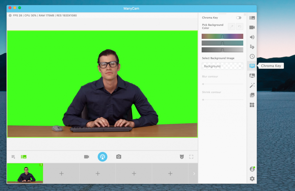 Select chroma key on live video