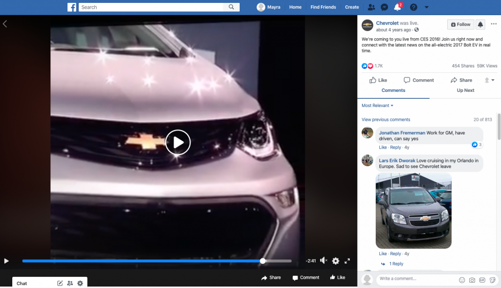 Live video marketing strategy example - Chevrolet