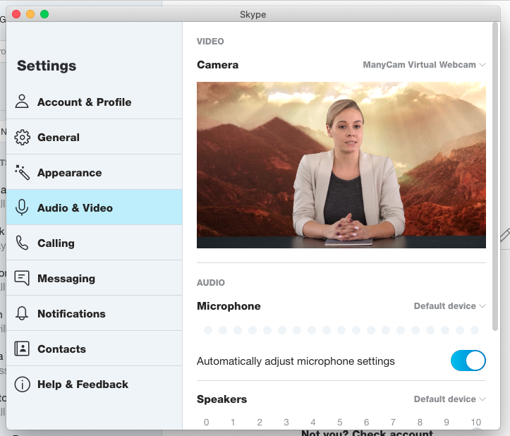 Connecting ManyCam to video conferencing apps