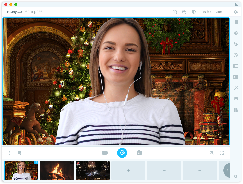 Fun video call with virtual background for holiday season