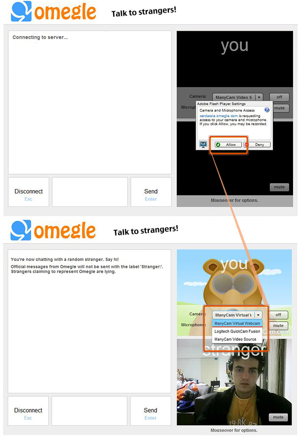 how to use omegle without a camera