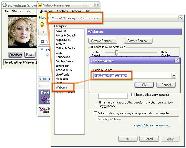 yahoo messenger webcam problem