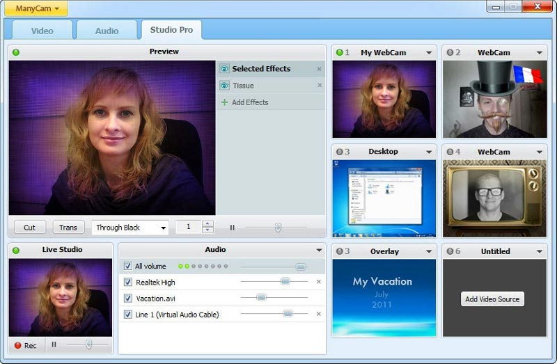 ManyCam Free Webcam Effects Screenshot